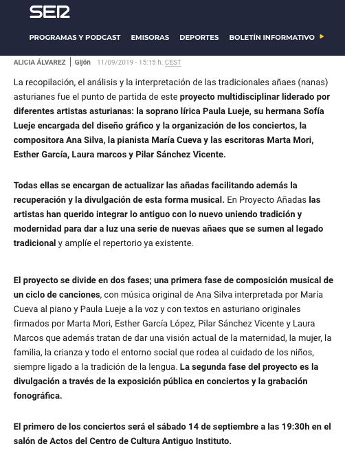 ENTREVISTA LA SER ALICIA ALVAREZ 11 SEPTIEMBRE 2019 : 2